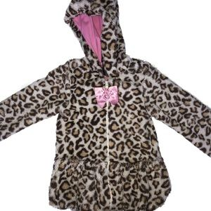 Other - Leapord print faux fur jacket coat